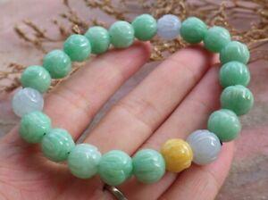 Certified Green Natural A JADE Jadeite Beads Lotus Flower Bangle Bracelet