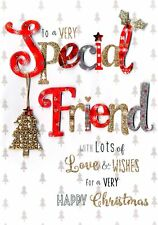 Very Special Friend Embellished Christmas Card Hand-Finished Festive Cheer Cards