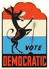 "1968 vote democratic in /'68 donkey large 15/"" vintage bumper sticker campaign"