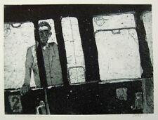 Eberhardt Dänzer 1959, Zugabteil Nacht, Aquatinta Radierung