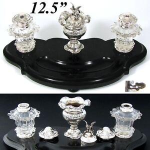 "Antique Dutch Sterling SIlver, Cut Crystal 12.5"" Black Marble Inkwell, Sander"