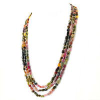 Amazing 3 Strand 224.50 Cts Earth Mined Watermelon Tourmaline Beads Necklace