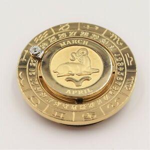 Aries Money Clip Gold Diamond Zodiac Signed Pierre Cardin Vintage Swank