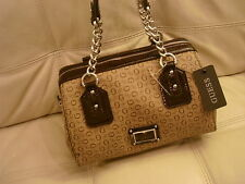 NEW WITH TAGS GUESS RIA Hand Bag Tote Purse Shoulder Bag brown canvas patent