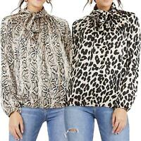Ladie Tie Neck Pussy Bow Blouse Shirt Long Sleeve Top Anirmal Print Cuffed Loose