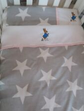 peter  rabbit cot bed quilt and pillow embroidered. Grey and white stars