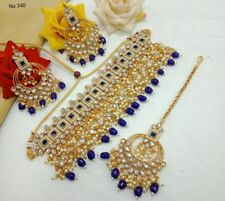 LATEST Indian Bollywood Pearl Choker Necklace Earrings Traditional Jewelry Set