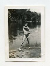 # 15 VINTAGE PHOTO NUDE MALE SOLDIER MAN AT THE LAKE SNAPSHOT GAY