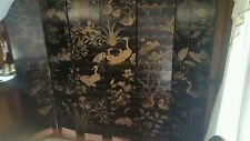 Antique Hand Painted Fabulous Folding Screen Room Divider 7' × 8' Estate Find