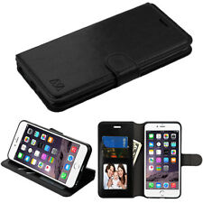 f32892af2be6 Apple iPhone 6 PLUS Leather Flip Wallet Pouch Fold Phone Case Cover Stand  Black