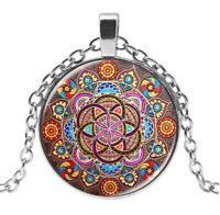 Anhänger Halskette Stil Chakren, Buddhistisch, Lotus Mandala
