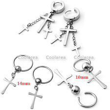 6pcs Silver Steel Cross Dangle Chain Ear Stud Cpative Rings Hoop Huggie Earrings
