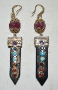 China QIng Dynasty Traditional Jewelry Earbob Gilt Silver Earring Black Crystal