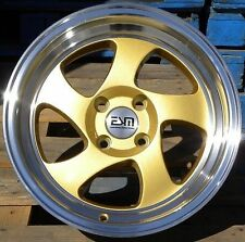 15X8 Esm 011 Wheels 4X100 +20 Gold Rims Fits Integra Cobalt Fox Civic Crx