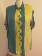 Hemdbluse lang, aus mehrfarbiger Cupro-Seide Gr. 52