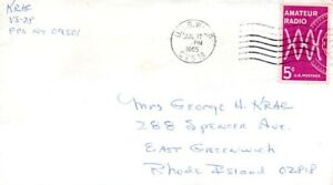 US Naval Post Office on board USS Wasp CVS18 in 1965 to sender's wife in Rhode I