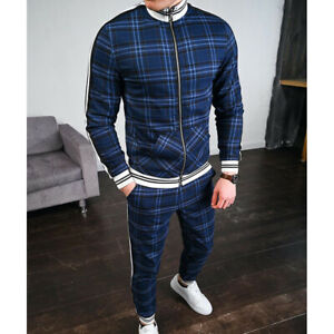 Men Tracksuit 2 Piece Casual Pants Jacket Sweatsuit Hip Hop Sweatshirt Set