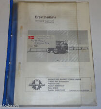 Spare Parts List Schmotzer Sprayer Supermat I/Supermat II 1987 - 1989
