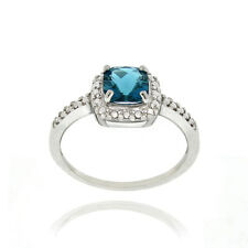 925 Silver London Blue Topaz & Diamond Accent Square Ring S6