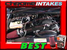 WB 99-07 CHEVY/GMC/CADILLAC TRUCK/SUV 4.8L 5.3L 6.0L COLD AIR INTAKE BLK RED+K&N