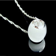 Exquisite Cat Eye Luck Bead Pendant 18k White Gold Plated Necklace