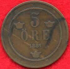 SWEDEN - 5 ORE - 1881