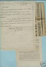 LETTRE AUTOGR. SIGNEE Alfred DROIN poète de Troyes