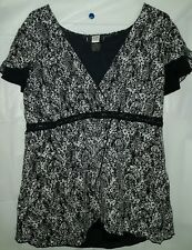 Studio 1940 14/16 black white top XL  stretchy 1Y