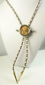 Sacagawea 2005 P Mint Coin In A Bolo Tie Brown, Beige, & White Leather Cord