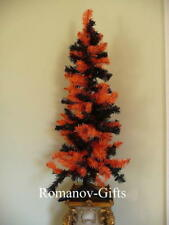 ORANGE & BLACK Christmas Tree 4 Ft NEW Halloween, Autumn with matching skirt !