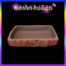 REPTLE SNAKE GECKO LIZARD WATER DISH, FOOD BOWL, WOOD EFFECT