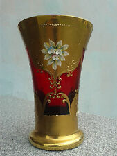 Vintage Vase decorated with floral motifs from porcelain
