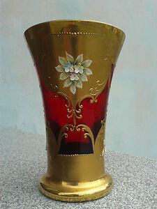 Vintage Vase decorated with floral motifs from porcelain