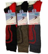2x Pair Mens Ski Socks Extra Warm Hiking Cycling Winter Sports Long Thermal Boys