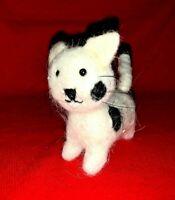 BLACK WHITE SPOT Cat Kitten Wee Forest Miniature Wool Standing Folk Art Doll ❤️