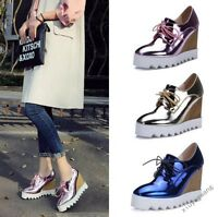Womens Shinny Platform Lace Up Wedge Heel Bling High Top Sneakers College Shoes@