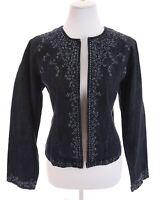 Chico's Embroidered Floral Denim Jean Jacket Blue Open Front Women Sz 1 Medium 8