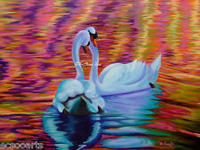 Original Oil Painting 18x24in Swans - The World Has Just Become A Better Place
