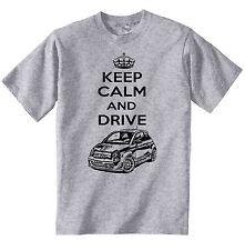 FIAT ABARTH 2015 Keep Calm and Drive P-COTONE MAGLIETTA GRIGIO-TUTTE LE TAGLIE IN STOCK