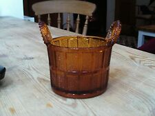 Vintage amber glass pot with handles