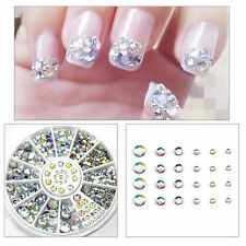 300Pcs Nail Art Rhinestones Glitter Diamond Gems 3D Tips DIY Decoration Wheel US