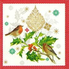 4x Tovaglioli di carta per Decoupage Decopatch Natale Birds