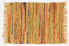 Sturbridge Primitive Decor Rag Rug in Mustard Color, 2' x 3', Hand Woven Cotton