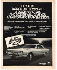 1970 Dodge Dart Swinger 2-door Hardtop Car art Vtg Print Ad