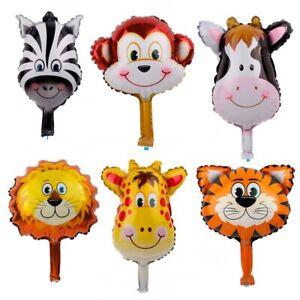 6pcs Safari Jungle Animal Foil Balloon Lion Tiger Cow Birthday Party Decoration