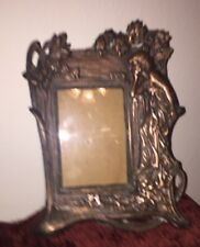 Vintage Art Nouveau Picture Frame Cast Iron Copper Plated or Washed no Stand