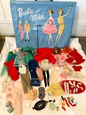 Vintage 1960's Barbie & Midge Doll Case and Clothing Lot with Wardrobe Booklets