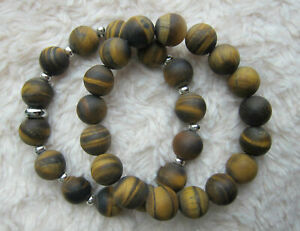Matt Finish Frosted Tiger Eye Bracelets With or Without Tibetan Silver Spacer.