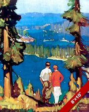VINTAGE 1930'S LAKE TAHOE VACATION TRAVEL AD POSTER ART REAL CANVAS PRINT