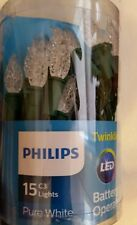Philips 15CT C3 LED PURE WHITE Twinkling Lights Green Wire Battery Operated NEW
